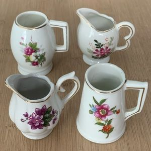 Mini Floral Pitchers Vases Set 4 Vtg Japan EC